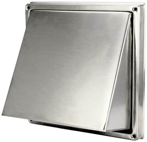 Edelstahl-Fassadengitter Ø 150 mm mit schräger Haube und Rückschlagventil (hoher Durchlass)-D5G150