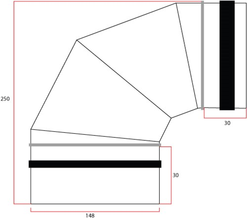 Wickelfalz Bogen 90° Ø150 mm-2