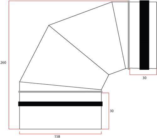Wickelfalz Bogen 90° Ø160 mm-2