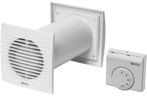 Lüfter Ø128 mm Weiß mit Thermostat - SKPT125