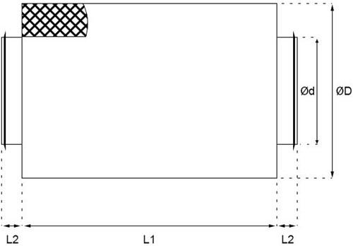 Schalldämpfer Ø 250 mm (600 mm) (50 mm iso)-2
