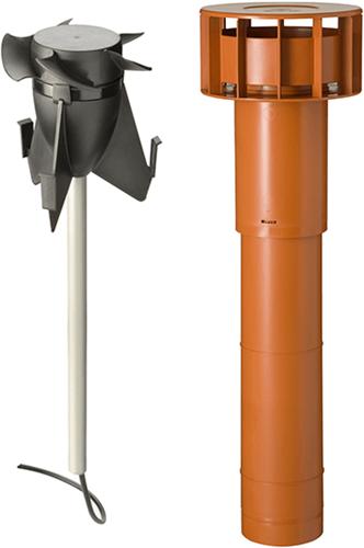 Kombipaket Ubbink Hybridlüfter + Multivent Dachdurchführung terrakotta - Länge 750 mm