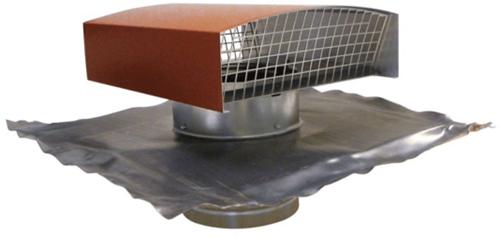 Ubbink Ubvent Dachdurchführung Ø 125 mm in Aluminium rot mit Abdeckung