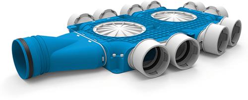 Uniflexplus zusammengesetzter Verteiler 10x Ø90mm mit horizontaler Tülle Ø125mm