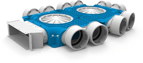 Uniflexplus zusammengesetzter Verteiler 10x Ø90mm für Flachkanal 220x80mm