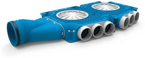 Uniflexplus zusammengesetzter Verteiler 15x Ø63mm mit horizontaler Tülle Ø125mm