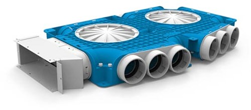 Uniflexplus zusammengesetzter Verteiler 15x Ø63mm für Flachkanal 220x80mm