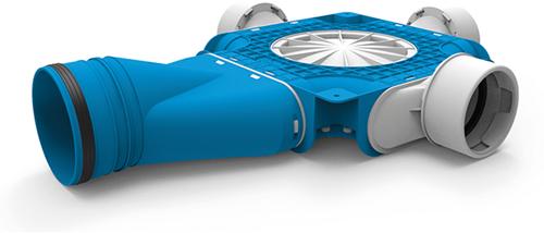 Uniflexplus zusammengesetzter Verteiler 3x Ø90mm mit horizontaler Tülle Ø125mm