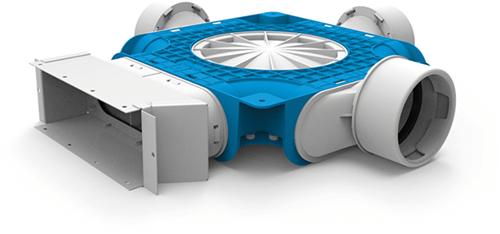 Uniflexplus zusammengesetzter Verteiler 3x Ø90mm für Flachkanal 220x80mm