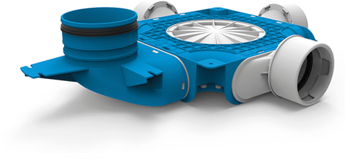 Uniflexplus zusammengesetzter Verteiler 3x Ø90mm mit vertikaler Tülle Ø125mm