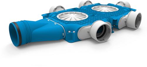 Uniflexplus zusammengesetzter Verteiler 5x Ø90mm mit horizontaler Tülle Ø125mm
