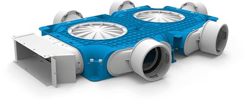 Uniflexplus zusammengesetzter Verteiler 5x Ø90mm für Flachkanal 220x80mm