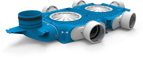 Uniflexplus zusammengesetzter Verteiler 5x Ø90mm mit vertikaler Tülle Ø125mm