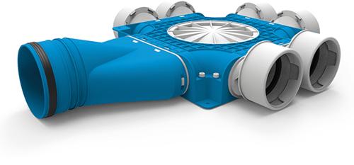 Uniflexplus zusammengesetzter Verteiler 6x Ø90mm mit horizontaler Tülle Ø125mm