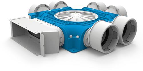 Uniflexplus zusammengesetzter Verteiler 6x Ø90mm für Flachkanal 220x80mm