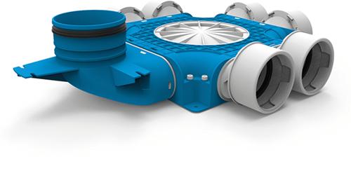Uniflexplus zusammengesetzter Verteiler 6x Ø90mm mit vertikaler Tülle Ø125mm