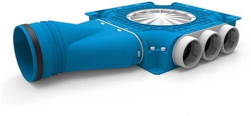 Uniflexplus zusammengesetzter Verteiler 9x Ø63mm mit horizontaler Tülle Ø125mm