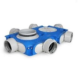Uniflex Plus Haubtverteilbox 6x Ø 90 mm mit Tülle Ø 125 mm