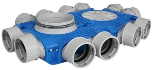 Uniflexplus Subverteilerbox 12x Ø 90 mm mit Tülle  Durchmesser 125