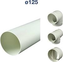 Lüftungsrohre und Formteile Kunststoff Ø125 mm