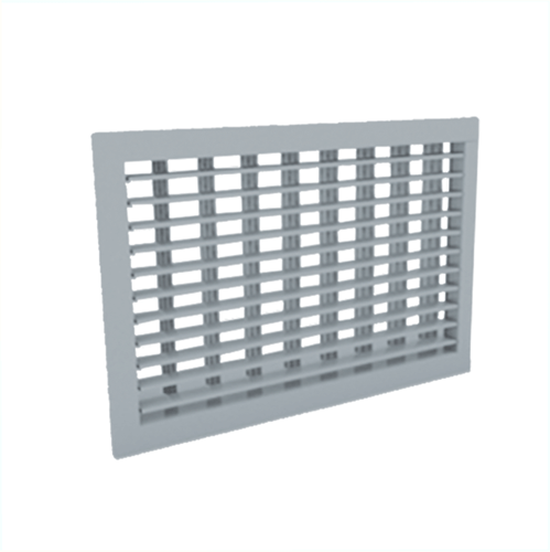 Wandgitter 500x500 Stahl mit Schraubbefestigung und doppelten verstellbaren Lamellen - Mischfarbe RAL 7001