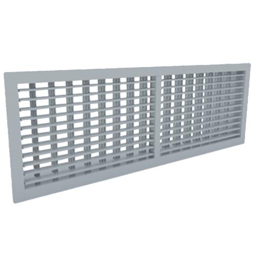 Wandgitter 600x150 Stahl mit Schraubbefestigung und doppelten verstellbaren Lamellen - Mischfarbe RAL 7001