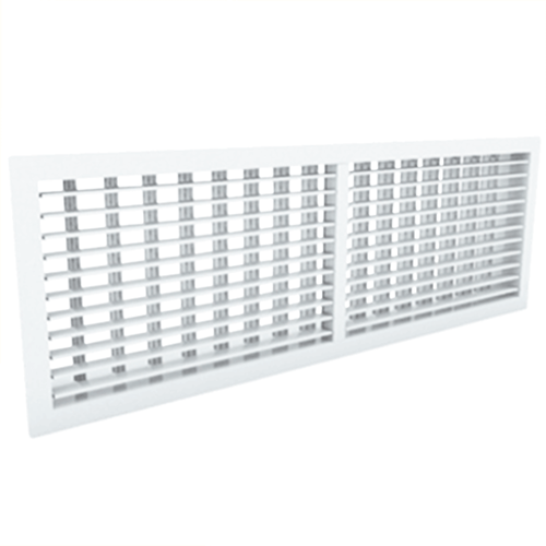 Wandgitter 600x100 Stahl mit Schraubbefestigung und doppelten verstellbaren Lamellen - Mischfarbe RAL 9003