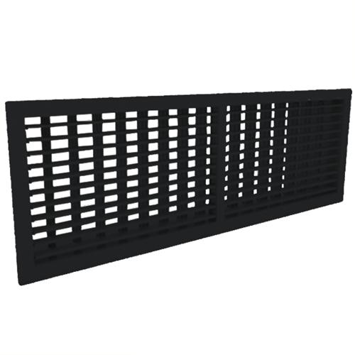 Wandgitter 600x100 Stahl mit Schraubbefestigung und doppelten verstellbaren Lamellen - Mischfarbe RAL 9005