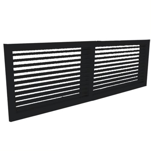 Wandgitter 600x100 Stahl mit Schraubbefestigung und einfachen verstellbaren Lamellen - Mischfarbe RAL 9005