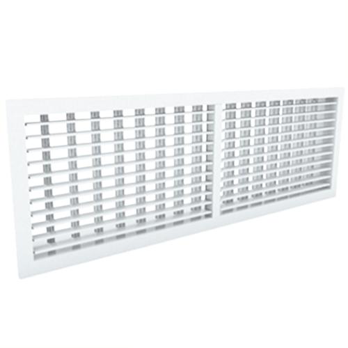 Wandgitter 600x150 Stahl mit Schraubbefestigung und doppelten verstellbaren Lamellen - Mischfarbe RAL 9016