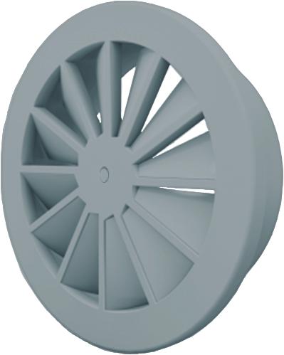 Dralldurchlass mit zentrale Schraubbefestigung 160 mm mit Übergangsstück für oberanschluss 125 mm - Mischfarbe RAL 7001