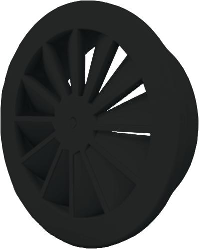 Dralldurchlass mit zentrale Schraubbefestigung 160 mm mit Übergangsstück für oberanschluss 125 mm - Mischfarbe RAL 9005
