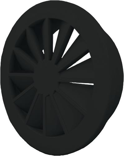 Dralldurchlass 160 mm mit Übergangsstück für oberanschluss 125 mm - Mischfarbe RAL 9005