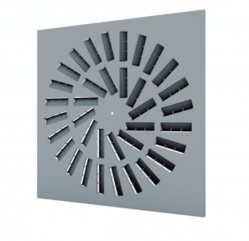 Dralldurchlass 600x600 quadratisch mit 36 verstellbaren Leitschaufln und Anschlusskasten mit oberem Anschluss - Mischfarbe RAL 7001