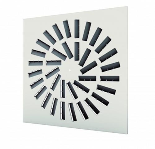 Dralldurchlass 600x600 quadratisch mit 36 verstellbaren Leitschaufln und unisoliertem Anschlusskasten Seitenanschluss - Mischfarbe RAL 9003