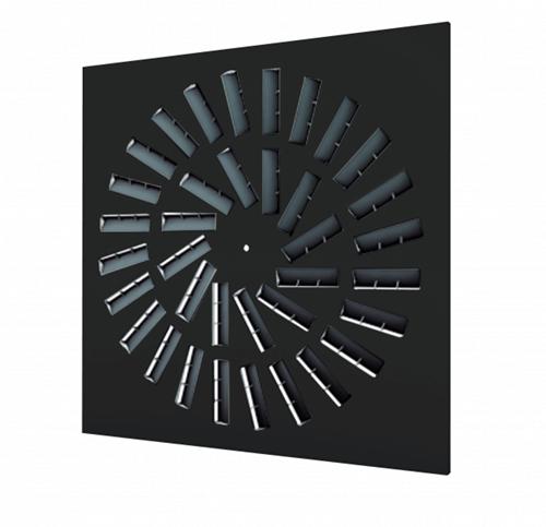 Dralldurchlass 600x600 quadratisch mit 36 verstellbaren Leitschaufln und isoliertem Anschlusskasten Seitenanschluss - Mischfarbe RAL 9005