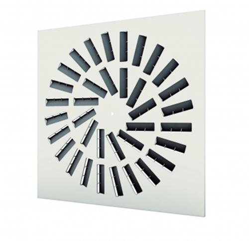 Dralldurchlass 600x600 quadratisch mit 36 verstellbaren Leitschaufln und unisoliertem Anschlusskasten Seitenanschluss - Mischfarbe RAL 9010
