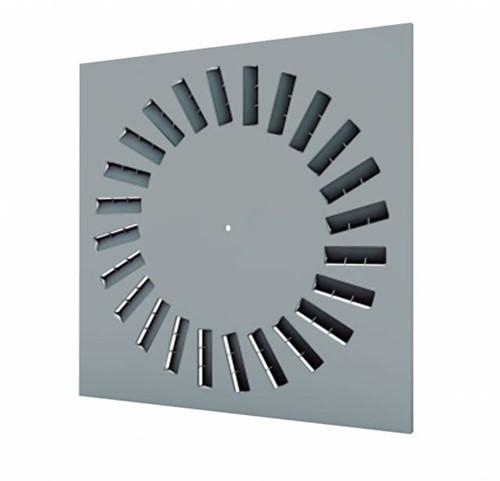 Dralldurchlass 600x600 quadratisch mit 24 verstellbaren Leitschaufln und unisoliertem Anschlusskasten Seitenanschluss - Mischfarbe RAL 7001