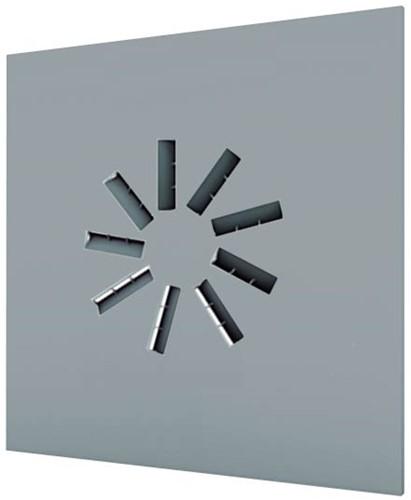 Dralldurchlass 600x600 quadratisch mit 9 verstellbaren Leitschaufln und isoliertem Anschlusskasten Seitenanschluss - Mischfarbe RAL 7001
