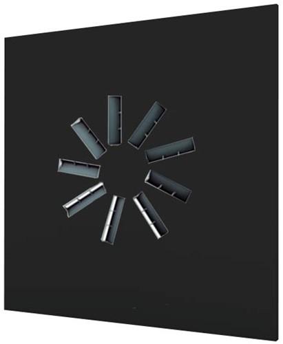 Dralldurchlass 600x600 quadratisch mit 9 verstellbaren Leitschaufln und Anschlusskasten mit oberem Anschluss - Mischfarbe RAL 9005