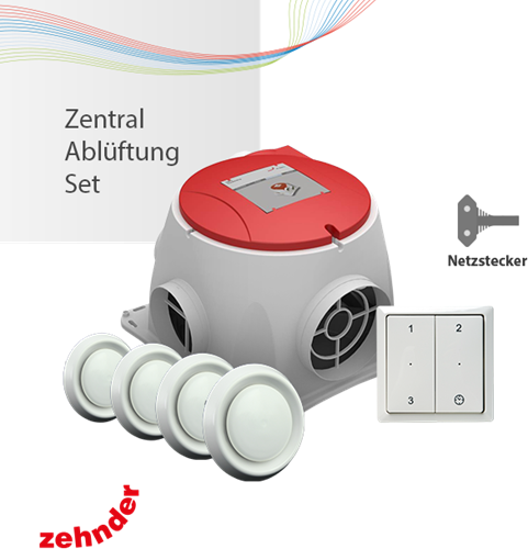 Zentralablüftungsset Netzstecker - Zehnder Comfofan S R + RF Funkbedienung + 4 Lüftungsventile
