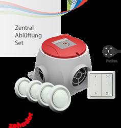 Zentralablüftungsset Perilexstecker - Zehnder Comfofan S RP + RF Funkbedienung + 4 Lüftungsventile